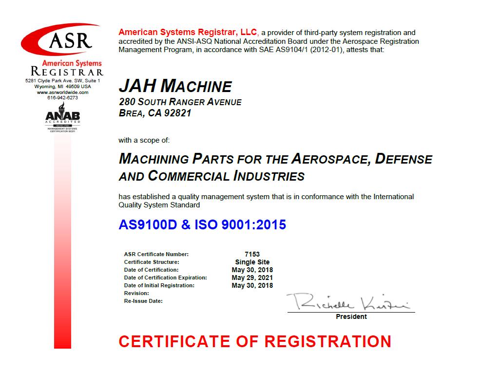 AS 9100 Certificate JAH Machine